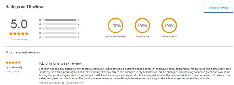 Bihaku collagen review của khách hàng tại ebay