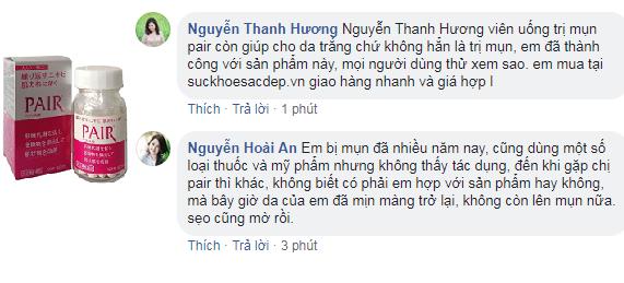 Viên uống trị mụn pair review từ Việt Nam