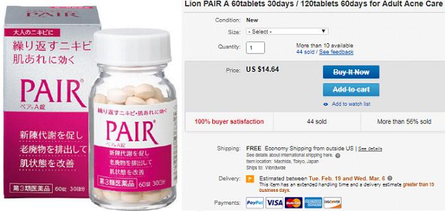 Viên uống trị mụn pair review từ ebay.com