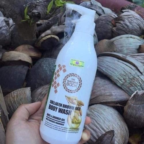 sữa tắm collagen gạo lứt the nature book chai 300ml