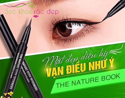 the nature book design water proof liquid eyeliner cho đôi mắt sắc sảo đầy cuốn hút