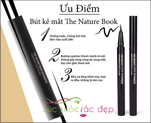 ưu điểm nổi bật của the nature book design water proof liquid eyeliner
