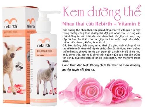 kem dưỡng trắng da nhau thai cừu Rebirth + vitamin E