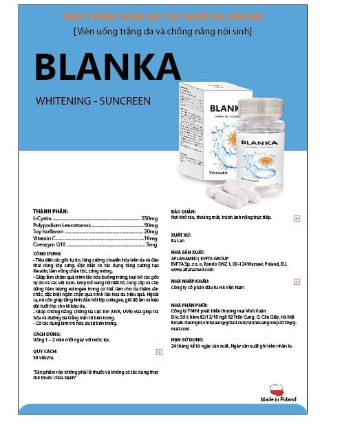 Viên uống trắng da sáng tự nhiên BLANKA ( Whitening - SunCreen )