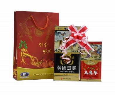 Bộ quà tặng hắc sâm – hồng sâm củ khô Hàn Quốc