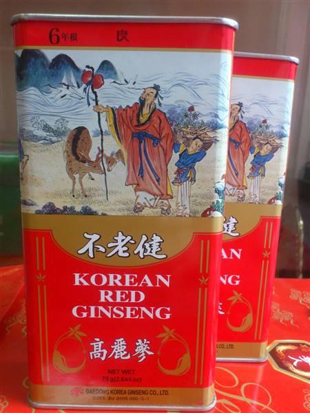 Hồng sâm củ khô 300gr Daedong trong hộp sắt