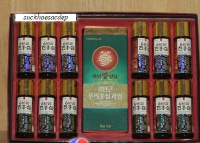 Nước hồng sâm Hàn Quốc 12 chai và trà sâm bổ dưỡng cơ thể