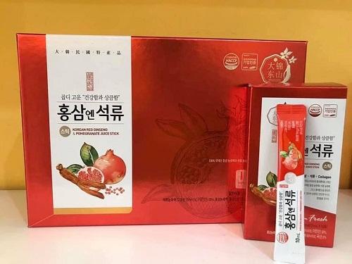 nước hồng sâm lựu collagen hộp 30 gói