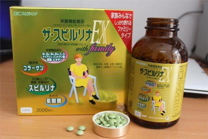 Tảo vàng cao cấp spirulina EX Nhật Bản hộp 2000 viên - mang lại cơ thể khỏe đẹp của phụ nữ Nhật