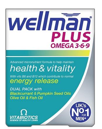 Viên uống Vitamin Wellman Plus Omega 3,6,9 cho nam trên 20+