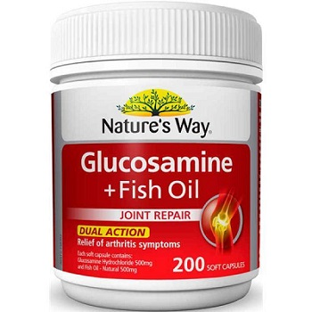 Glucosamin & dầu cá Natures Way 500mg viên bổ xương khớp