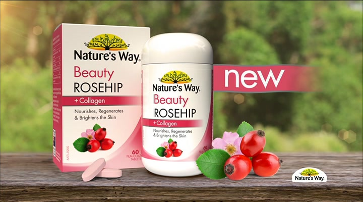 Viên uống Natures Way Beauty Rosehip + Collagen 60 tablets trắng da