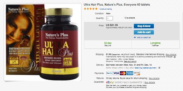 Review của khách hàng sau khi sử dụng Ultra Hair Plus tại ebay.com