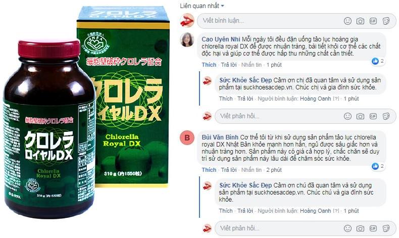 Đánh giá tảo lục hoàng gia Chlorella từ khách hàng của Suckhoesacdep.vn