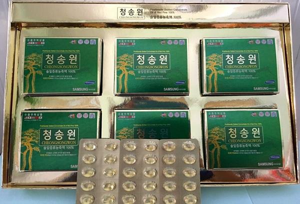 Review tinh dầu thông đỏ Cheongsongwon hộp xanh của Hàn Quốc