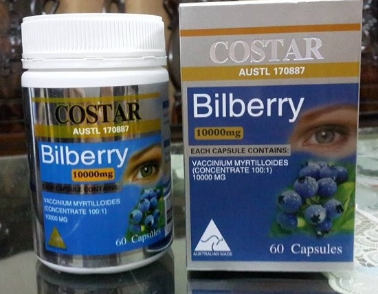 Thực phẩm chức năng bổ mắt Costar Bilberry 10.000mg 60 viên của Úc