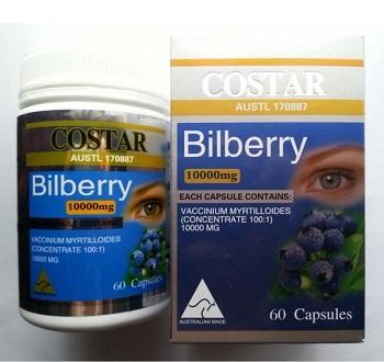 Thực phẩm chức năng bổ mắt Costar Bilberry 10.000mg 60 viên