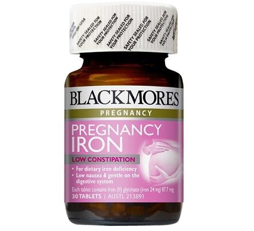 Viên sắt cho bà bầu Blackmores Pregnancy Iron Low Constipation 30 viên của Úc