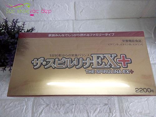 tên thương hiệu và số viên trên đầu hộp tảo vàng ex 2200 viên