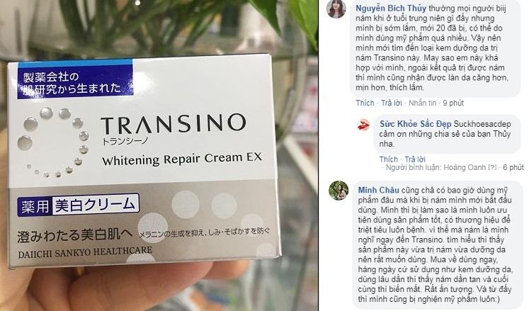 review transino whitening repair cream